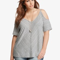 Striped Cold Shoulder Swing Tee