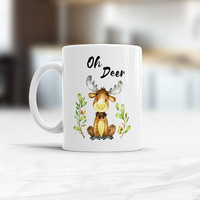 Cute Deer coffee Mug Oh Deer, Gift for Him, Gift for Her, Christmas gift idea, Watercolor animal Unique 11 oz tea cup for present