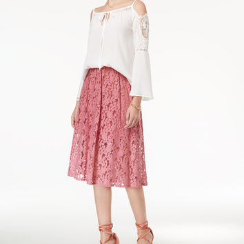 Disney Beauty and the Beast Juniors' Cold-Shoulder Lace-Trim Blouse & Floral Lace Skirt