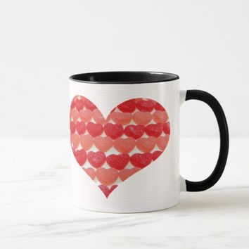 Candy Hearts In A Row, Heart Shaped Mug