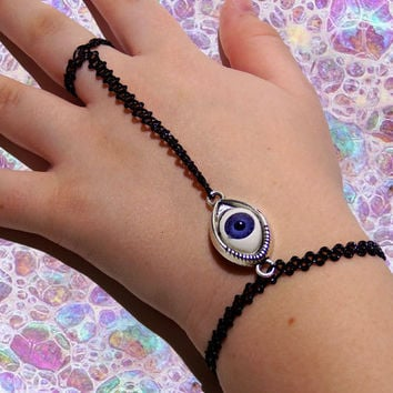 FREE SHIPPING, Evil eye, stretchy, tattoo, slave bracelet, tattoo choker, connected, tattoo, jewelry, boho, hand jewelry, hippy bracelet