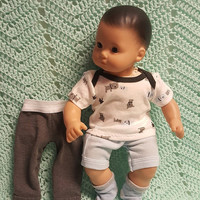 "Baby Doll Clothes to fit 15 inch baby doll BOY ""Me & Daddy Doggies"" 15 inch playset top socks pants shorts dog houses L2"