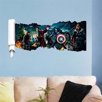 creative hot movie Avenger and Captain America 3D wallpaper home decor bedroom decal wall sticker gifts for kids ZY1432