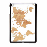 World Map On Wood Texture Print White iPad Mini 2 Case