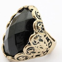 A 090207 Vintage carved black gem ring