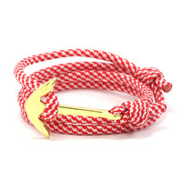 Gold Anchor on Candy Cane Rope