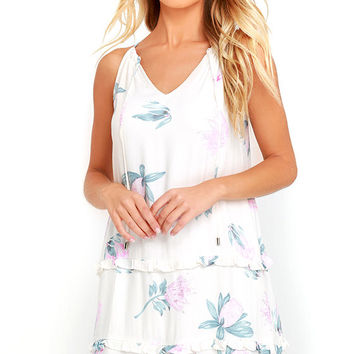 Mink Pink Woratah Cream Floral Print Shift Dress