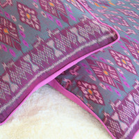 Indonesian Ikat Pillows, Handwoven Mauve, Burgundy and Brushed Teal With Rolled Edges FREE Shipping