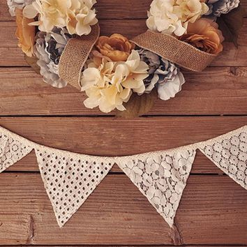 10pcs/lot 98 inch Romantic Vintage Shabby Ivory Lace Banner Flag Garlands Wedding Party Decorations Home Decor
