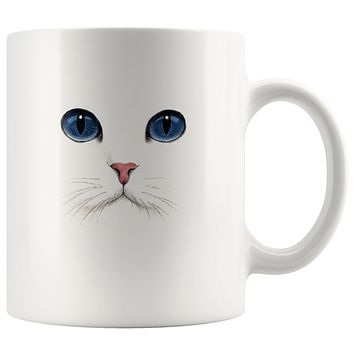 Cat Mug Blue Eyes White Cat Coffee Cup 11oz