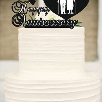 70 th Anniversary Cake Topper Personalized -  Rustic Wedding Cake Topper, 70 th Years Loved Anniversary Cake Topper