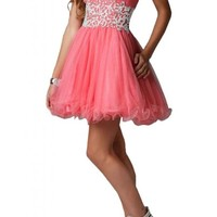 Angel Bride Mini A-Line Sweetheart Tulle Prom Dress Birthday Evening Dress