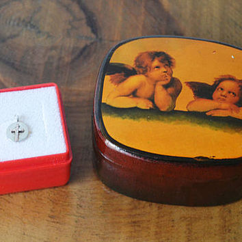 Small Cross Pendant, Child's Size Cross Pendant, 925 Silver 10 Kt Gold, Raphael's Sistine Madonna Cherubs Trinket Box, Lacquer Box