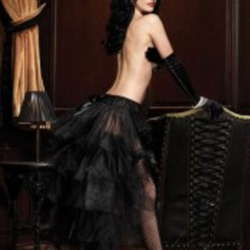 Long Tulle Burlesque Bustle Skirt With Satin Bow Accents