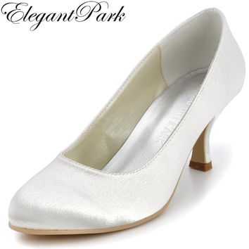 2016 Fall Fashion Women Wedding Pumps EP11011 Ivory White Round Toe 2.5