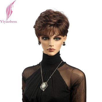 DCCKION Yiyaobess Synthetic African American Short Curly Wigs For Women Natural Hair Brown Wig With Bangs