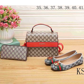 GUCCI 2018 new women's fashion three-piece high-quality handbag clutch bag shoes F-KSPJ-BBDL Bag + Grey Shoes (Three-piece)
