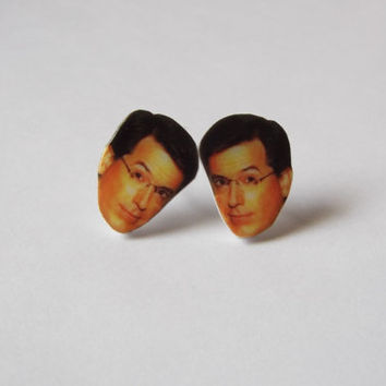 Stephen Colbert Earrings Fun Novelty Gag Gift