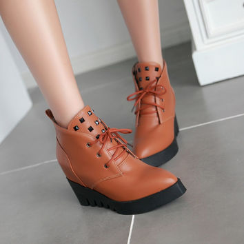 Studded Ankle Boots Wedges Platform Women Shoes Fall|Winter