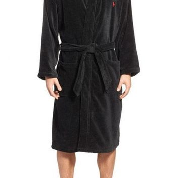 DCCK8BW COTTON FLEECE ROBE