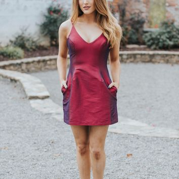 Noelle Mini Dress, Wine