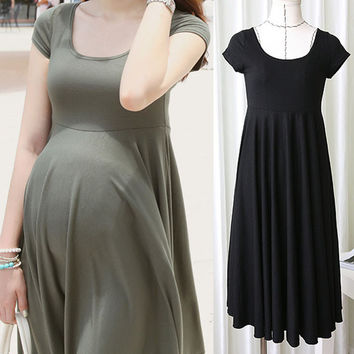 Summer Fashion Maternity Dresses Clothes For Pregnant Women Clothing O-neck Short Sleeve 4 Colors Slim Pregnancy Dress Wear 2015