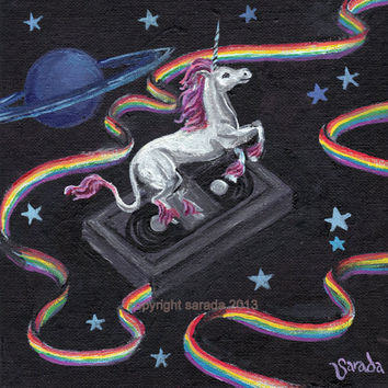 Groovy unicorn art with rainbow VHS video tape, outer space sci fi kitsch original painting