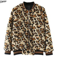 Brown Leopard Faux Fur Bomber Jacket Coat Winter Women Long Sleeve Baseball Neck Pockets Front Zip up Warm New Outwear