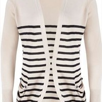 Oatmeal And Black Striped Edge to Edge Cardigan With Slouch Pockets plus size 16,18,20,22,24,26,28,3