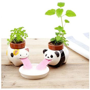 New Cute Ceramic Cultivation Peropon Drinking Animal Planter Cute Animal Tongue Pot Ceramic Self Watering Planter Party Gift