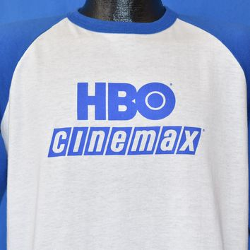 80s HBO Cinemax Baseball Jersey t-shirt Large