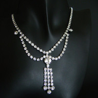 Vintage Chaton Rhinestone Drop Necklace
