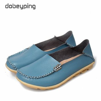 New Women Real Leather Shoes Comfortable Mother Loafers Soft Woman's Flats Leisure Fem