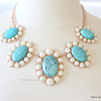 Clearence Oasis Cabochon Bib Necklace Flower Statement Necklace