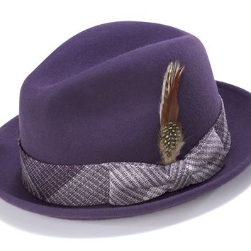 Men's Snap Brim Felt Fedora Hat By Montique H-1724