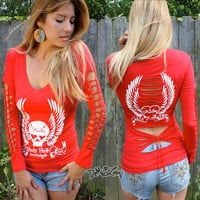 Demi Loon diy Tattoo Skull Biker Motorcycle Slashed Sexy Tee Shirt