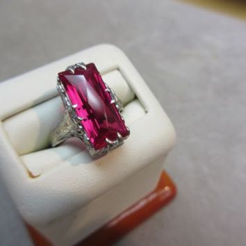 14K WHITE GOLD Synthetic Ruby RING FILIGREE  ART DECO VICTORIAN SIZE 6