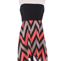 Chevron Chiffon Sleeveless Women's Dress Hi-Lo Black and Coral S M L USA Seller