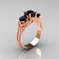 14K Rose Gold Three Stone Black and White Diamond Solitaire Ring R200-14KRGDBD