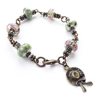 Flower Beaded Bracelet, Easter Bonnet Charm, Spring Jewelry, Lampwork Glass, Swarovski Crystal Glass