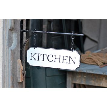 Vintage Kitchen Enamel Hanging Sign | 13-in
