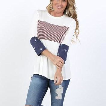 Southern Stripes 3/4 Sleeve Tunic