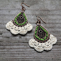 Dangle Drop Earrings Crochet Beaded Green Cream Bronze Copper Bridesmaids Wedding Gift for Her