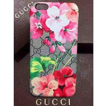 GUCCI Trending Women Men Classic Flower Letter Print iPhone Phone Cover Case For iphone 6 6s 6plus 6s-plus 7 7plus iphone X I