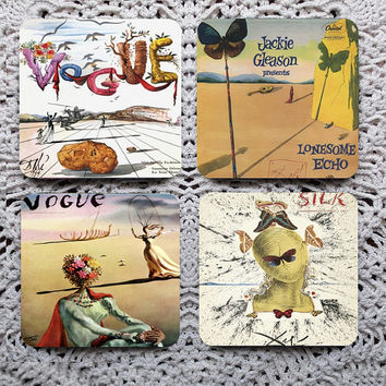 I've Got You Covered -- Surreal Magazine & Album Cover Art Mousepad Coaster Set