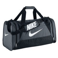 Nike Brasilia Duffle Bag Medium White Grey | Champs Sports