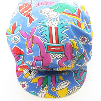 Vintage Colorful Print Newsboy Cap