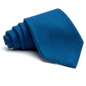 Kiton Bright Blue Herringbone Tie