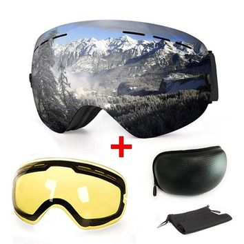 2018 Ski Goggles Snowboard Protection Glasses Sport Equipment Spherical Mirror Airsoft Snowmobile Windproof Winter Yellow lens