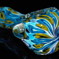 Large Spoon Pipe Heady Blown Glass Smoking Bowl w/ Amazing Swirled Top Inside Out Blue Aqua & Green